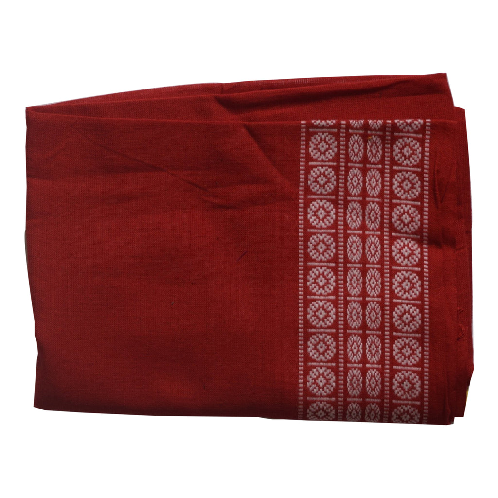 Handwoven Deep Red Sambalpuri Bomkai Cotton Blouse AJODI002052