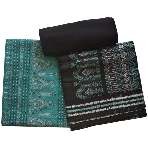 Deep Green with Black Odisha Handloom Sambalpuri Bomkai Cotton Ladies Dress Material  AJODI002071