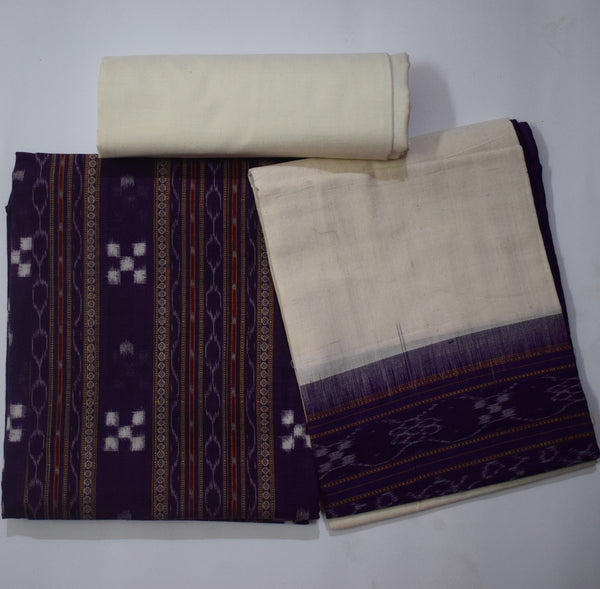 Purple with Off White Pasapalli Design Handloom Cotton Ladies Dress Material from Sambalpur Odisha AJODI002072