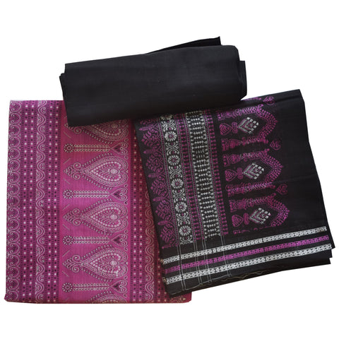 Purple With Black Handloom Bomkai Ladies Dress Material from Odisha AJODI002076