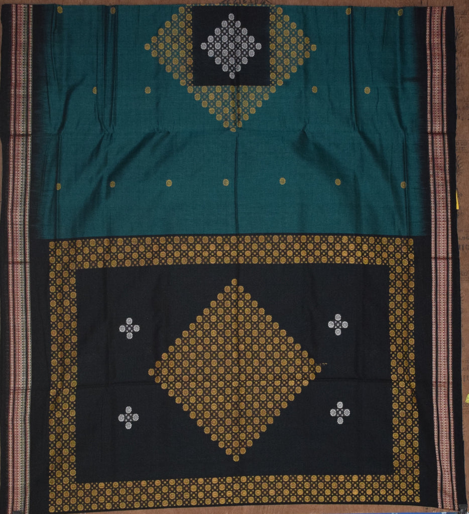 Deep Green with Black Bomkai Design Sambalpuri Handloom Cotton Saree from Odisha AJODI002088