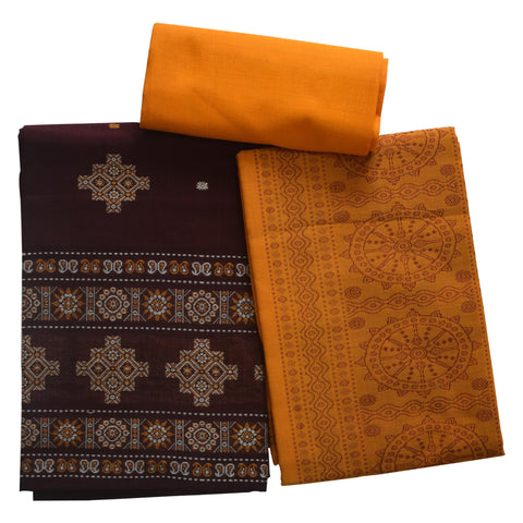 Deep Coffee with Orange Odisha Handloom Sambalpuri Bomkai Ladies cotton Dress Material  AJODI002090