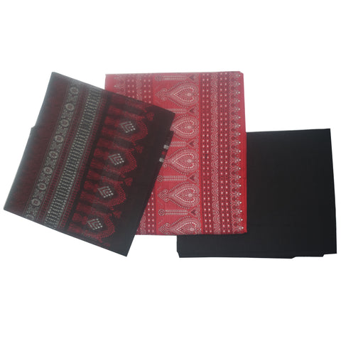 Bomkai Red with Black Handloom Ladies Dress Material From Odisha AJODI002094