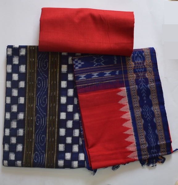 Royal Blue with Red Odisha Handloom Sambalpuri Pasapalli Ladies Cotton Dress Material AJODI002100