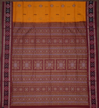 Sambalpuri Cotton saree with yellow bomkai designed body and maroon pasapalli designed border