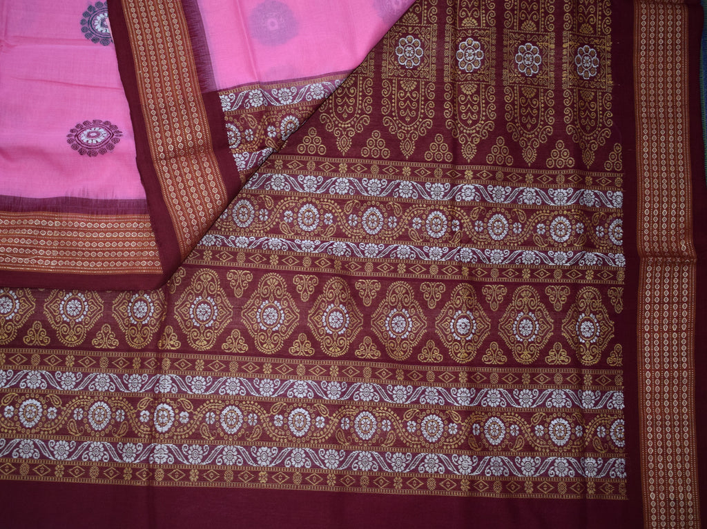Pink With Maroon Bomkai Odisha Handloom Cotton Saree AJODI002109