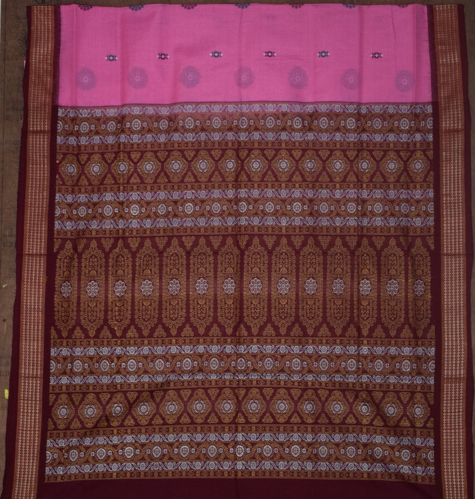 Bomkai design Sambalpuri Cotton Saree with Pink body and Maroon border