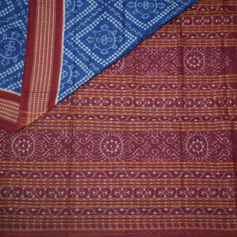 Sambalpuri Handloom cotton saree with a blue Bandha design body and maroon pallu