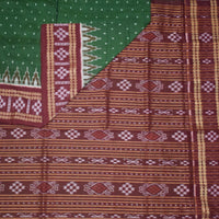Sambalpuri Handloom cotton saree with deep green buti designed body and maroon color Pallu