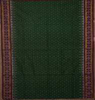 Deep Green With Maroon Sambalpuri Handloom Cotton Saree from Odisha AJODI002112