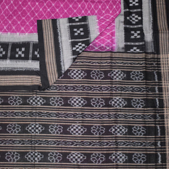 Sambalpuri Handloom Cotton saree with Pink body and black border and Pallu