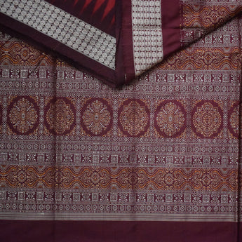 Bomkai design Sambalpuri Silk Saree with Marron body and coffee Pallu