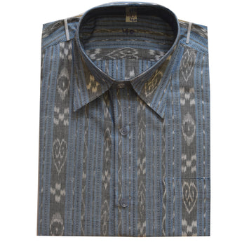 Light Blue Sambalpuri Ikat Handloom Men's Cotton Half Shirt from Odisha AJODI002121