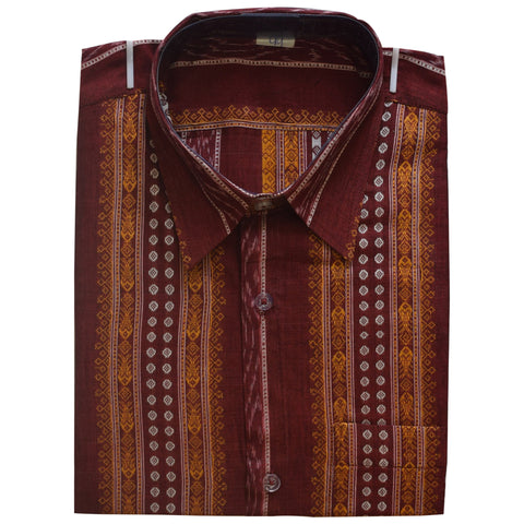 Maroon Fish Design Bomkai Handloom Cotton Half Shirt for Men from Sambalpur Odisha AJODI002131