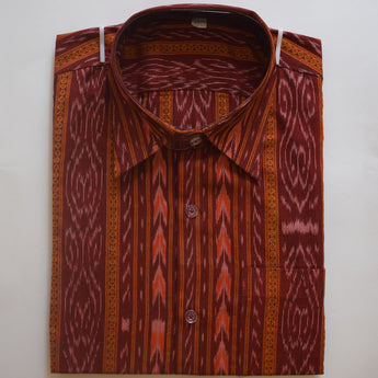 Maroon Ikat Handloom Cotton Half Shirt for Men from Sambalpur Odisha AJODI002133
