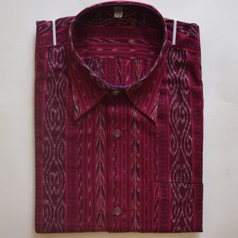 Magenta color Ikat Handloom Cotton Half Shirt for Men from Sambalpur Odisha AJODI002134