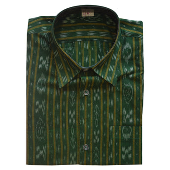 Green Ikat Handloom Cotton Half Shirt for Men from Sambalpur Odisha AJODI002135