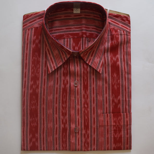 Light Red Ikat Handloom Cotton Half Shirt for Men from Sambalpur Odisha AJODI002136