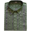 Light Green Ikat Handloom Cotton Half Shirt for Men from Sambalpur Odisha AJODI002137