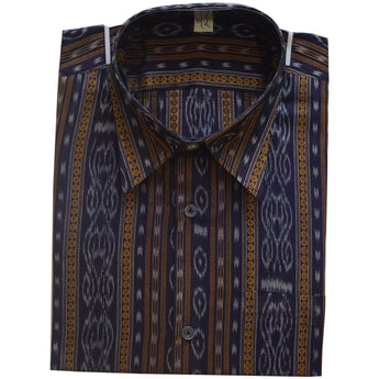 Ink Blue Color Handloom Men's Ikat Cotton Half Shirt From Sambalpur Odisha AJODI002138