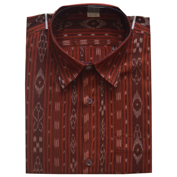 Light Maroon Handloom Men's Ikat Cotton Half Shirt From Sambalpur Odisha AJODI002139