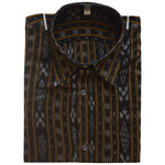 Black Ikat Handloom Sambalpuri Men's Cotton Half Shirt From Odisha AJODI002141