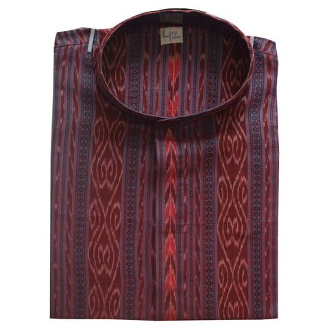 Maroon with Multicolor Sambalpuri Handloom Cotton Kurta for Men from Odisha AJODI002153