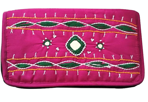 Handmade Applique Embroidery with Mirror work Women's Wallet with Mobile Holder from Pipili Odisha AJODI002169