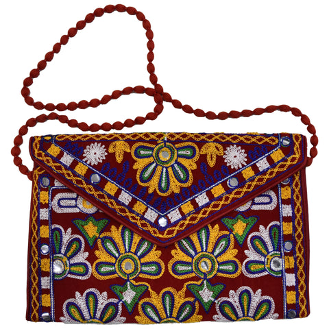 Handmade Applique Embroidery with Mirror work Women's Sling Bag from Pipili Odisha AJODI002171