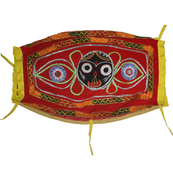 Lord Jagannath Design Handmade Applique Cotton Dhola Cover from Pipili Odisha AJODI002175