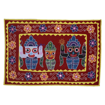 Lord Jagannath, Lord Balabhadra, Maa Subhadra Design Handmade Applique Velvet Pipili Chandua from Odisha AJODI002179