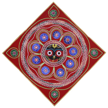 Lord Jagannath Design Handmade Velvet Applique Pipili Chandua from Odisha AJODI002190