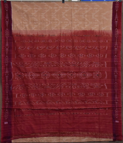 Light brown with Maroon Ikat Odisha Handloom Nuapatna Cotton Saree AJODI002209
