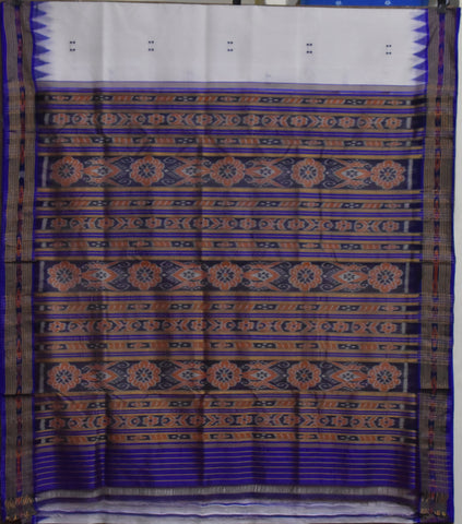 White with Ink Blue Ikat Odisha Handloom Silk Saree from Maniabandha AJODI002212