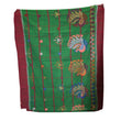 Santali saree Handicraft Green With Maroon Colour Santhali Saree From Odisha AJODI002217