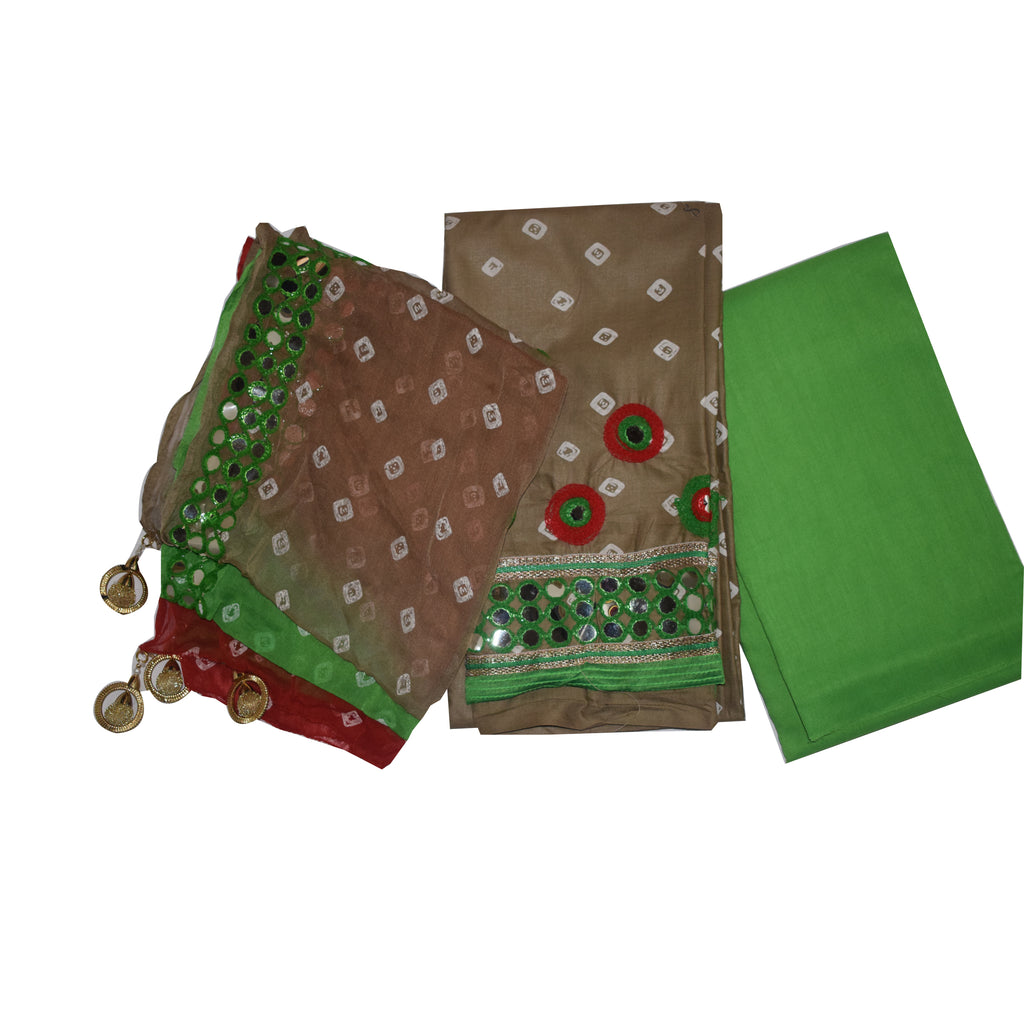 Handloom Mirror Work Banarasi Tortilla With Green Colour Cotton Silk Ladies Dress Piece AJODI002226