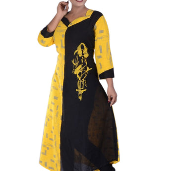 YELLOW WITH BLACK COTTON PRINTED CREPE KURTI FOR WOMEN AJODI002303
