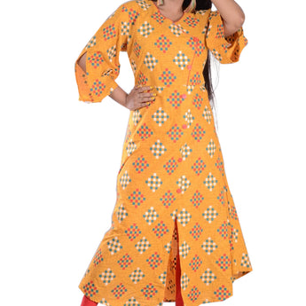 YELLOW WITH MULTICOLOUR PRINTED COTTON KURTI FOR WOMEN AJODI002306