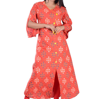 RED PRINTED COTTON KURTI FOR WOMEN AJODI002307