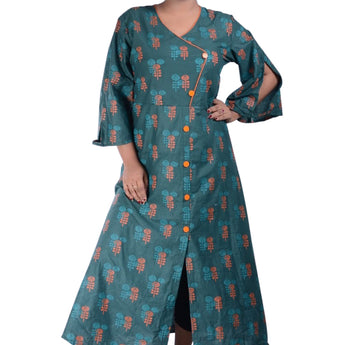 COTTON PRINTED DESIGN LONG KURTI FOR WOMEN AJODI002311