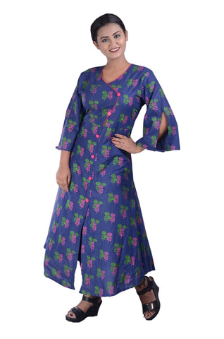 COTTON PRINTED LONG KURTI FOR WOMEN AJODI002313