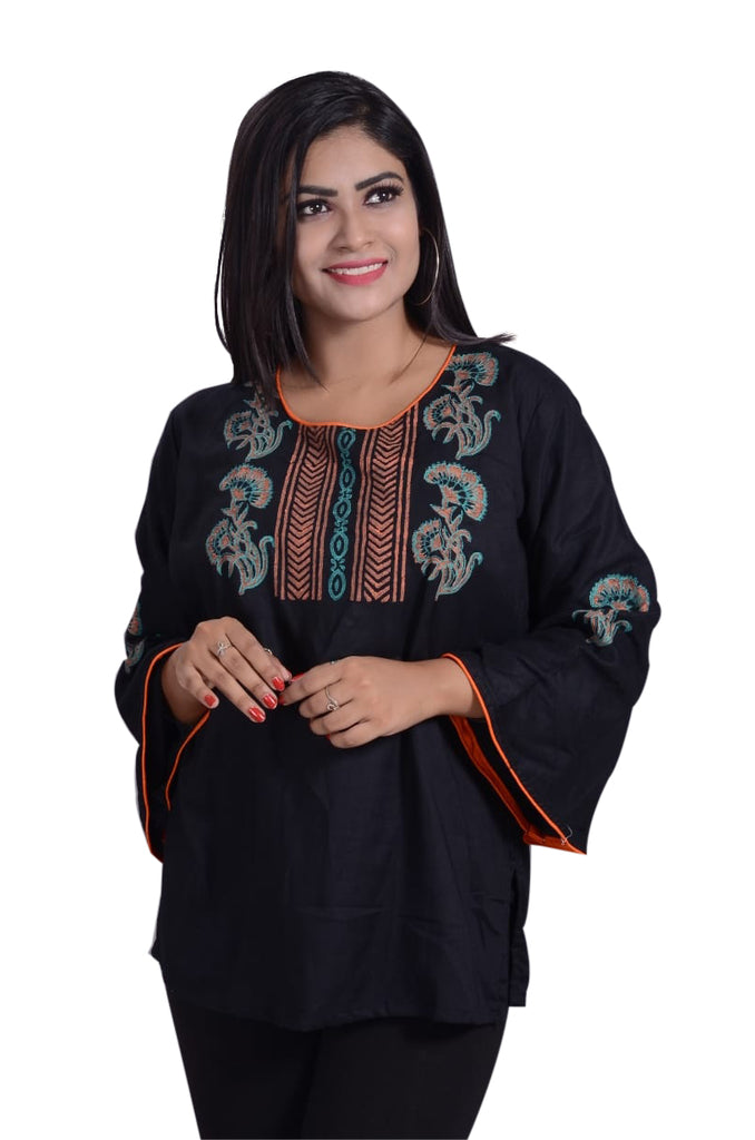 Black colour Printed Design Short Kurti For Women AJODI002329