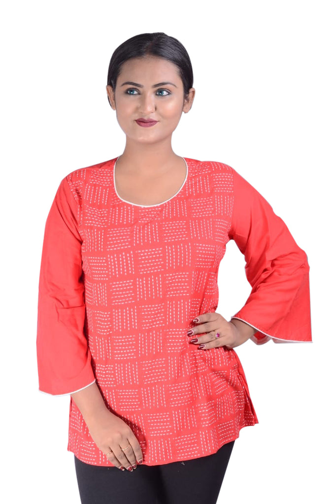 Printed Reyon Short Kurti For Women AJODI002332