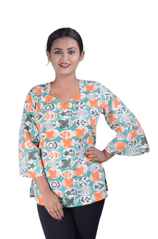 Printed Design Cotton Kurti For Women AJODI002333