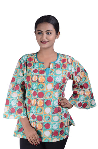 COTTON PRINTED DESIGNER UNIQUE KURTI FOR WOMEN AJODI002336