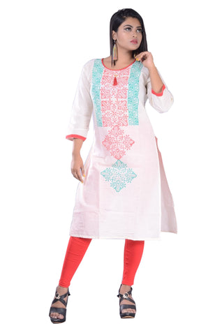 Red With Green Printed Cotton Kurti For Women AJODI002344