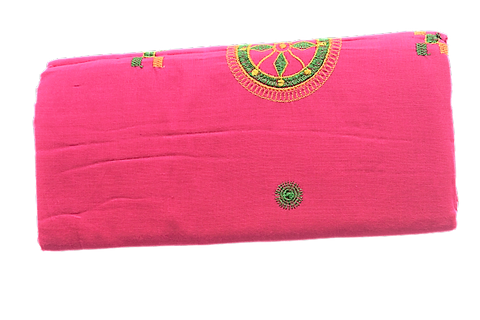 EMBRODOIERY DESIGN PINK COLOUR COTTON SAREE FROM ODISHA AJODI000012