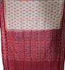 GREY WITH RED IKAT CHECK DESIGN  ODISHA HANDLOOM NUAPATNA COTTON SAREE AJODI002579