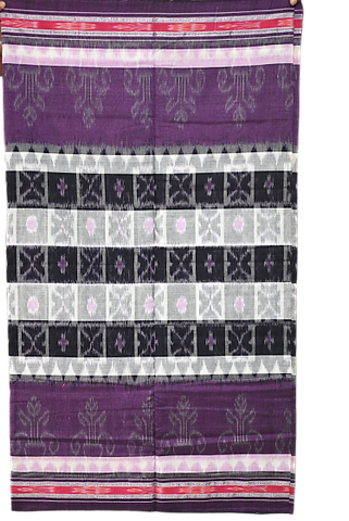 BLACK WITH WHITE IKAT HANDLOOM COTTON SAREE OF ODISHA NUAPATANA AJODI002589