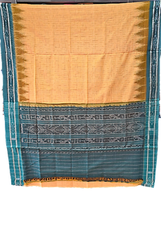ODISHA HANDLOOM NUAPATNA WOMEN'S JHARANA COTTON SAREE YELLOW WITH GREEN AJODI002591